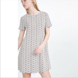 Zara Jacquard Knit black white retro dress